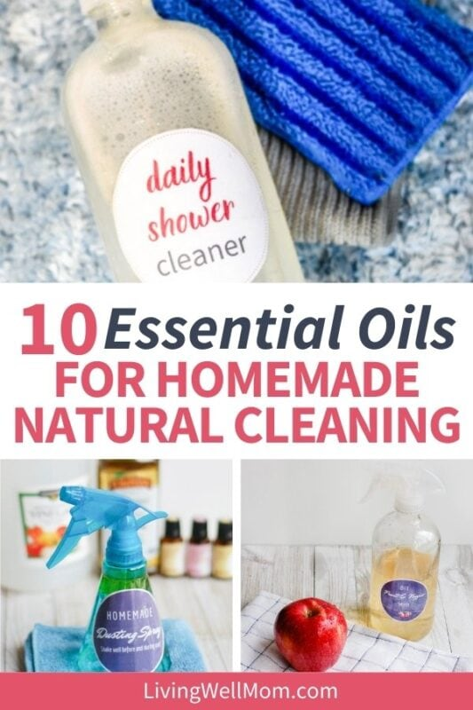 collage of photos of homemade cleaning solutions
