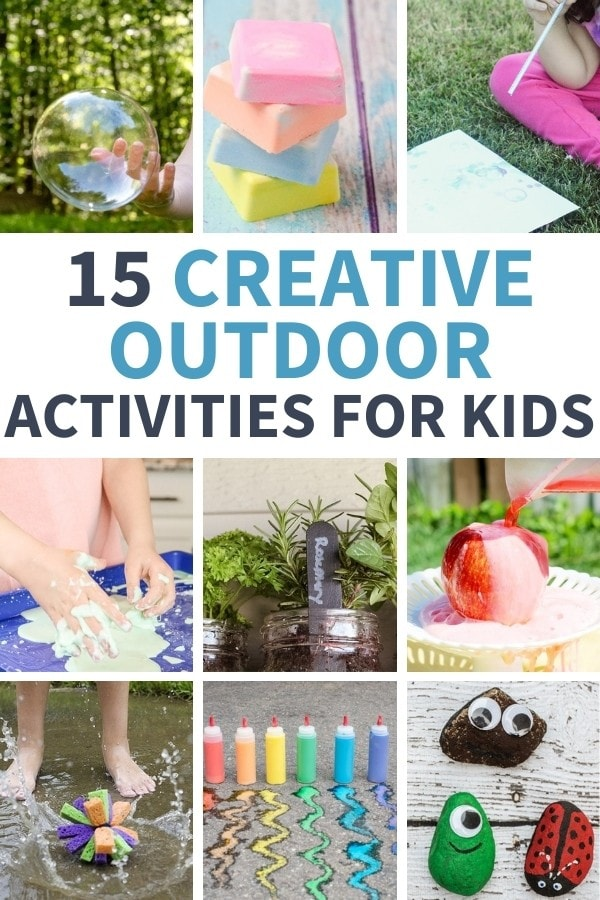 collage of outdoor activities for kids
