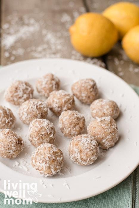 Lemon Coconut Energy Balls on a white plate