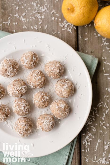 lemon coconut energy balls on a plate