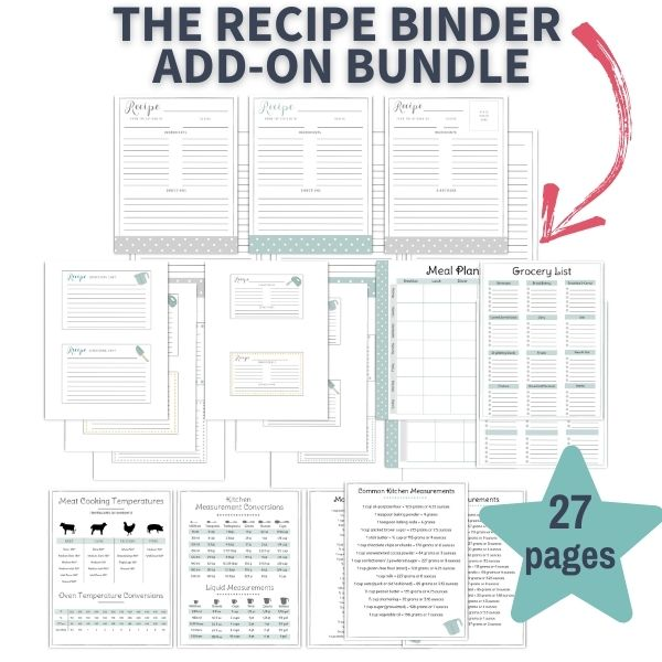 layout of pages within the 27 page PDF printable recipe binder add on