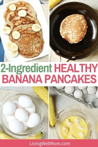 set of photos pancakes with bananas and eggs