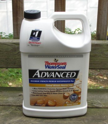 Thompson's Waterseal Advanced Treated Wood Protector product on deck