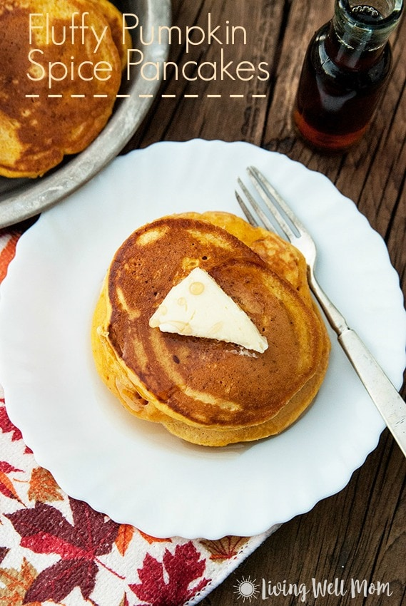 fluffy pumpkin spice pancakes on a white plate