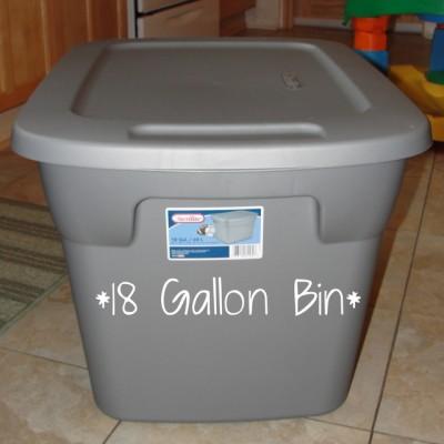 large gray 18 gallon plastic bin