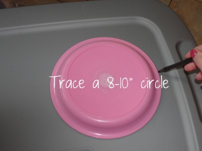 tracing pink plate to cut into gray lid
