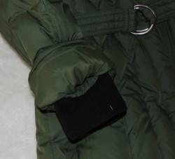 sleeve of green winter coat