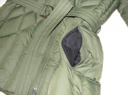cinch and pocket of green winter coat