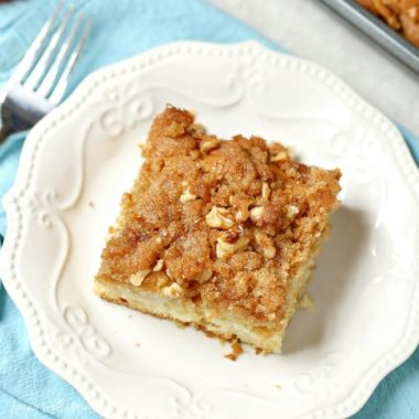 With its light tasty flavor and bursts of apple chunk goodness throughout, this Apple Coffee Cake is a perfect recipe for this time of year.