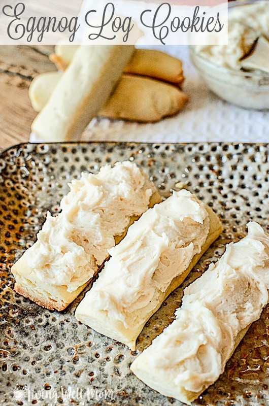 Eggnog Log Cookies- with rum extract and nutmeg, these cookies are full of flavor. It's no wonder they're one of our most popular Christmas cookie recipes!