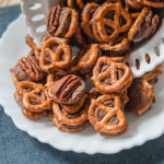 chocolate pretzels coming out of a bowl