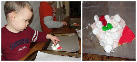 a little boy making the Santa gram crackers