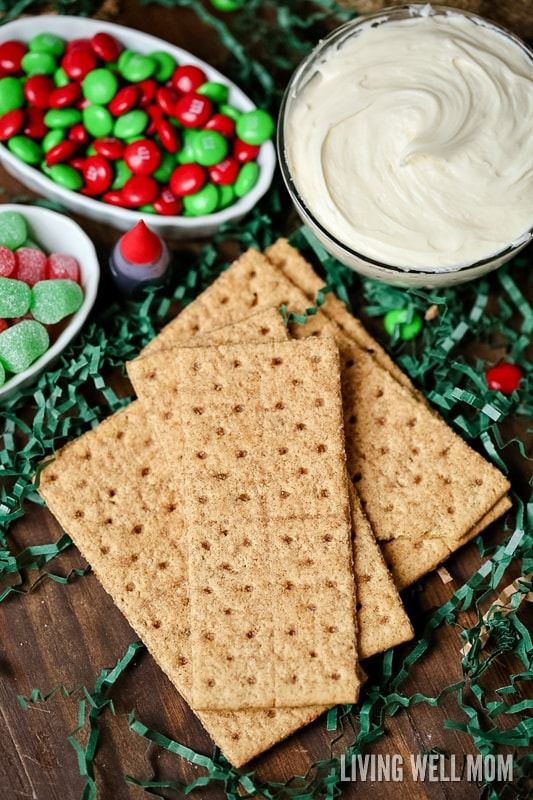 gram crackers with candy and frosting in the background