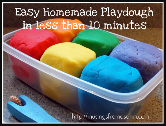 Easy homemade playdough recipe musings from a stay at for Easy stuff to make at home