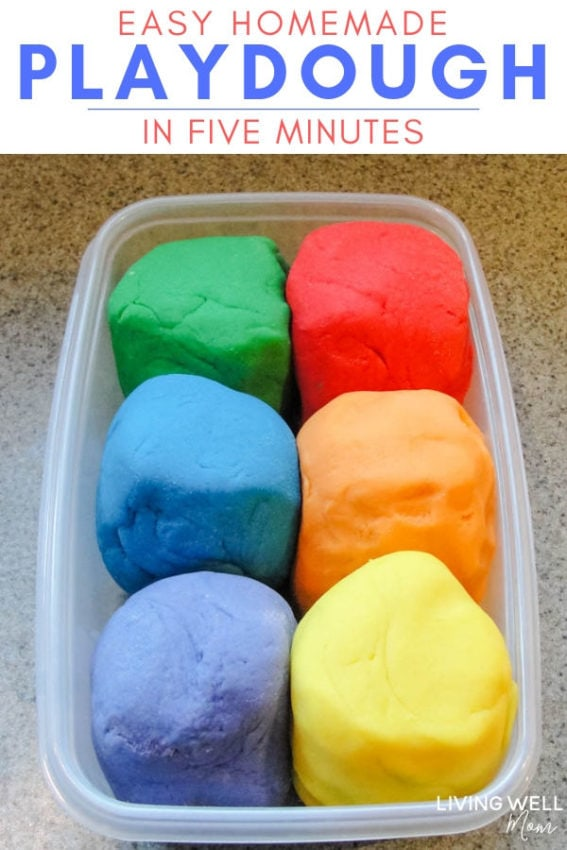 colorful easy homemade playdough