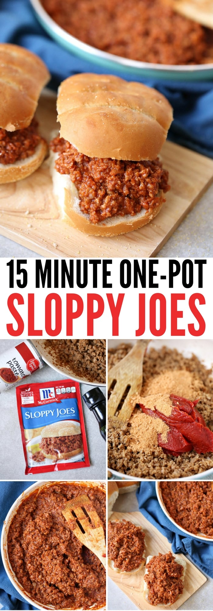 Pinterest image for quick and easy one pot sloppy joe recipe.