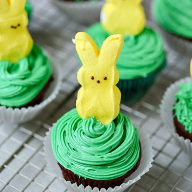chocolate cupcakes with a Peep on top