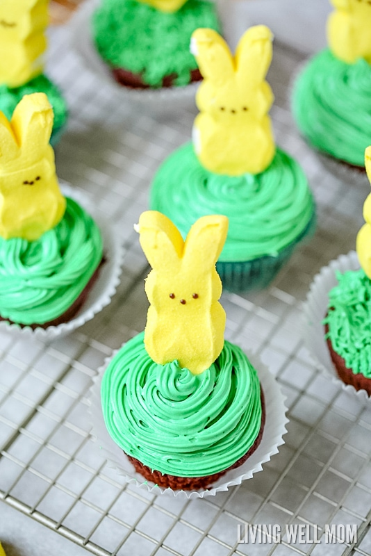 easter bunny cupcakes - making these is one of the best spring activities for kids