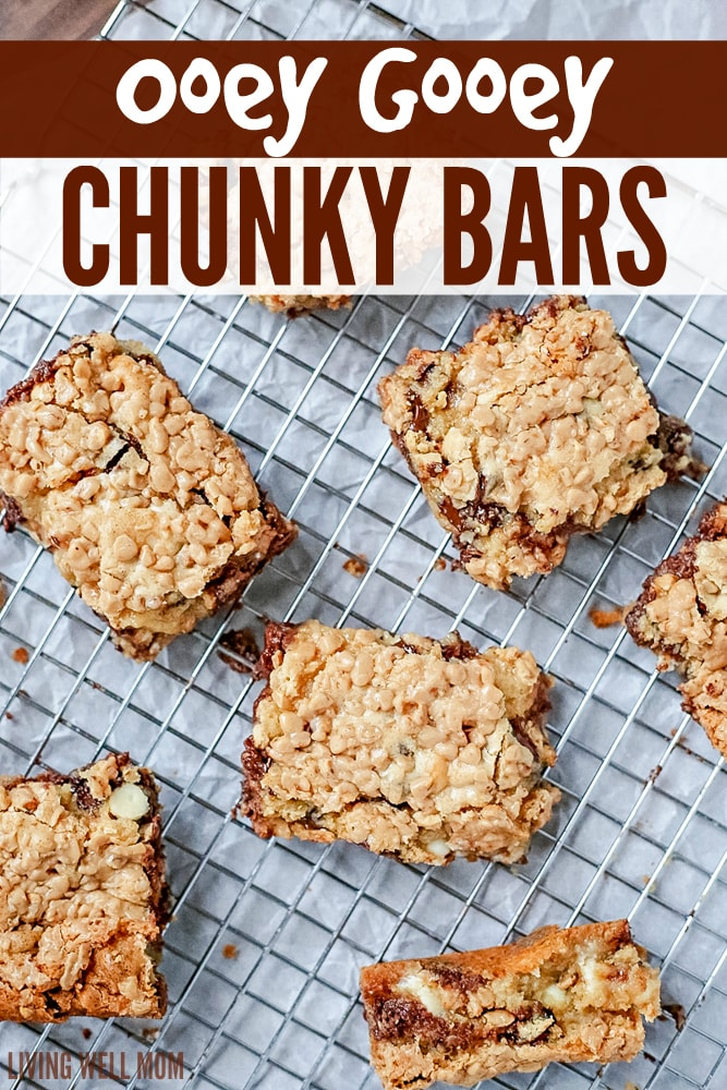 Ooey Gooey Chunky Bars are like chocolate chip cookies on steroids! The bar form makes this recipe quick and easy to make while the toffee, white chocolate, and chocolate chips combo will satisfy any sweet tooth!