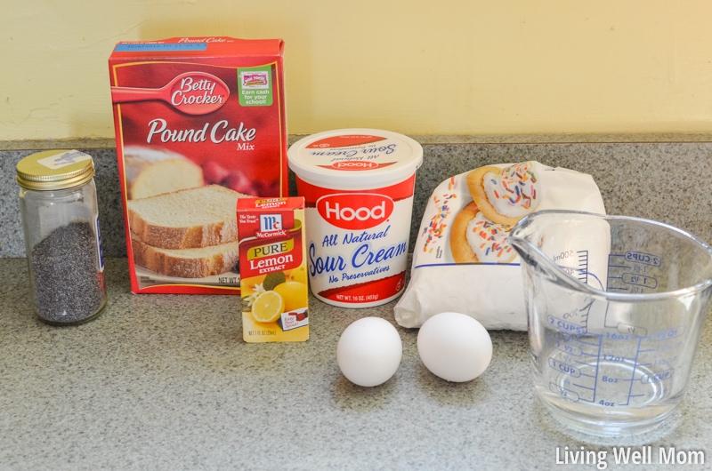 Lemon Poppy Seed Cake ingredients ( pound cake mix, poppy seeds, lemon extract, sour cream, 2 eggs, sugar/flour