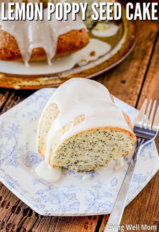 lemon poppy seed cake on a plate