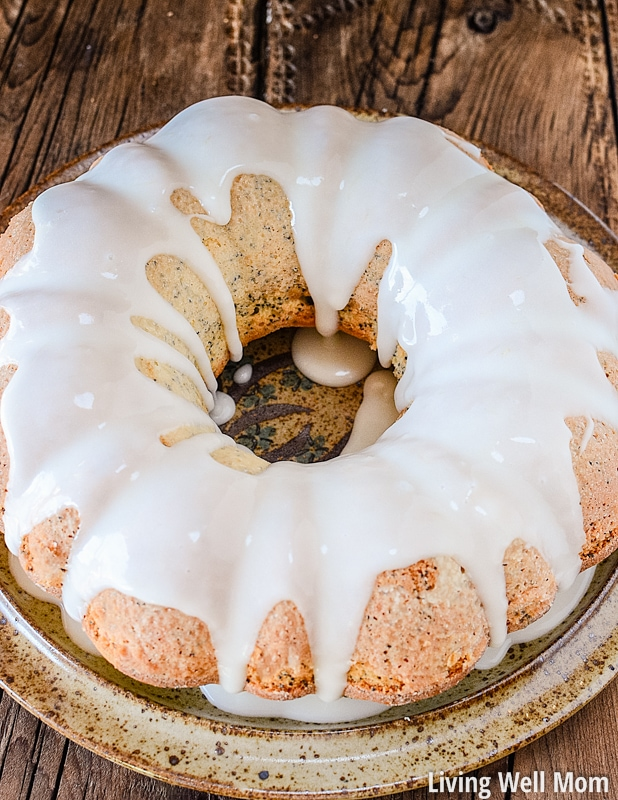 lemon poppy seed cake with glazed icing on plate