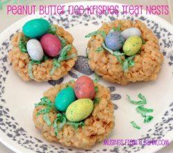 Peanut Butter Rice Krispies Treat Nests {Recipe}