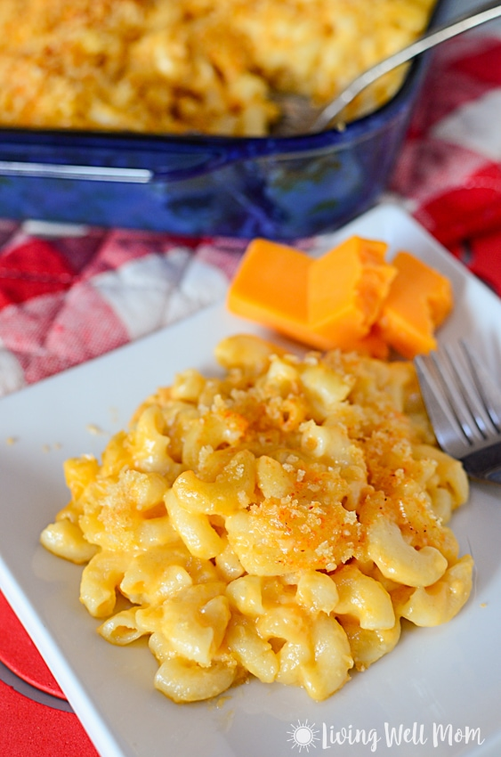 kid friendly mac and cheese on a plate