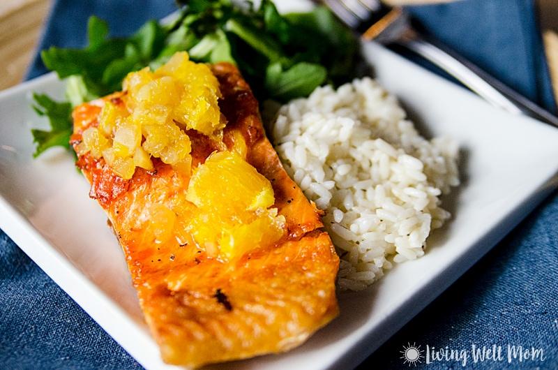 baked salmon with orange glaze on a plate