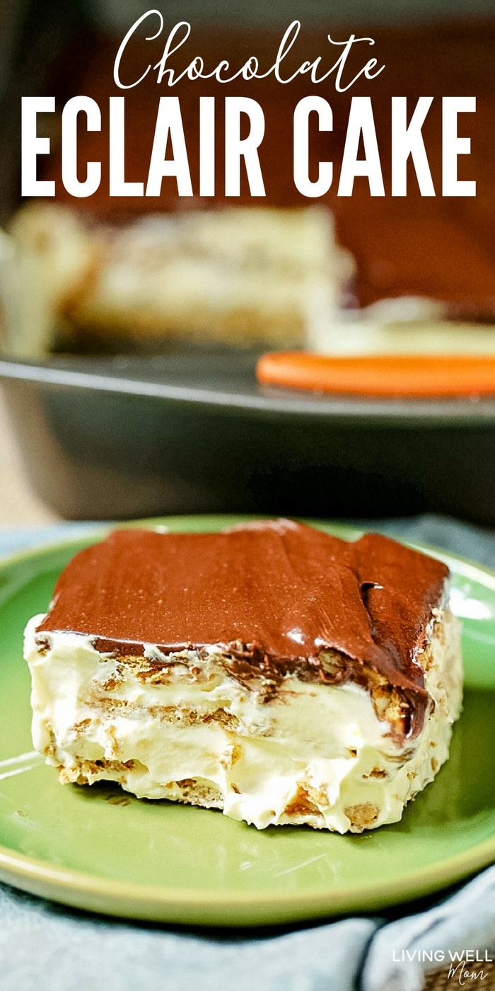 chocolate eclair cake with text
