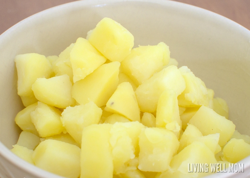 chopped cooked potatoes in a bowl