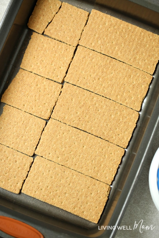 graham crackers laid out in baking pan