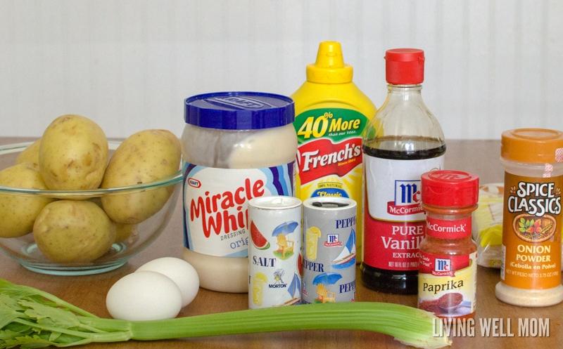 ingredients for homemade potato salad recipe