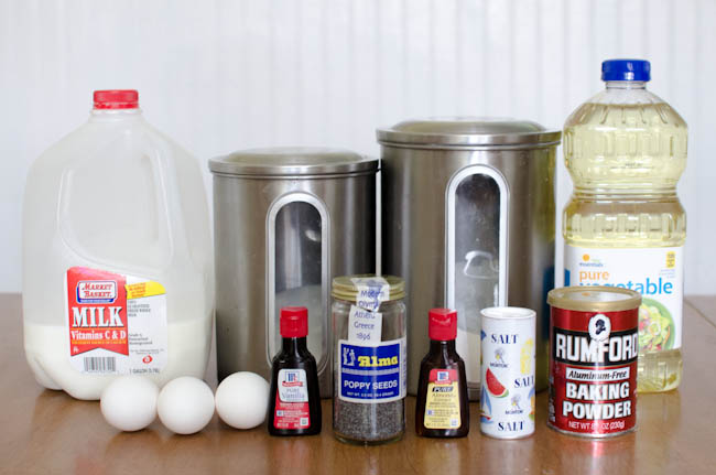 ingredients for poppyseed muffins recipe