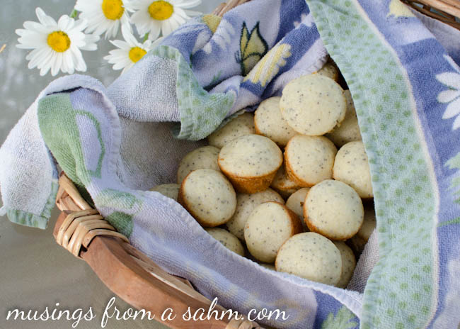 basket with mini poppyseed muffins