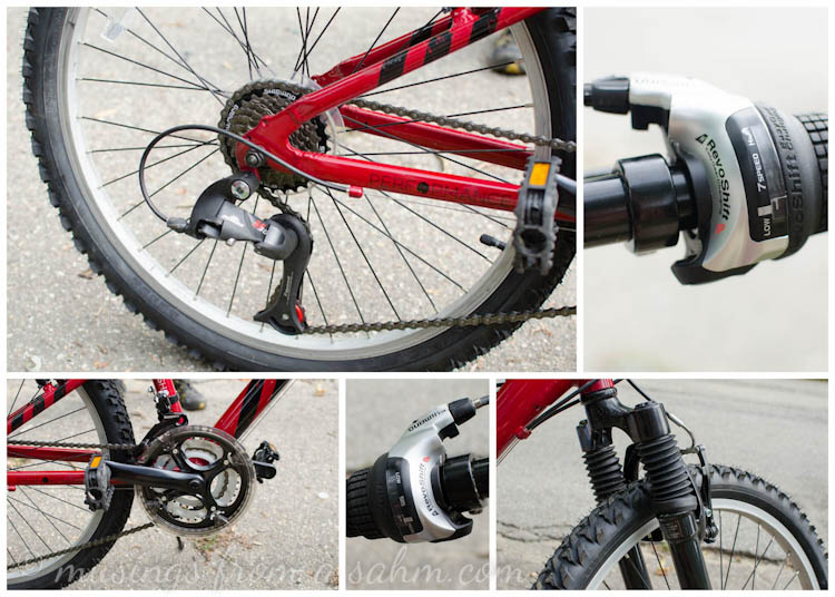 pictures of different parts of a Performance bicycle