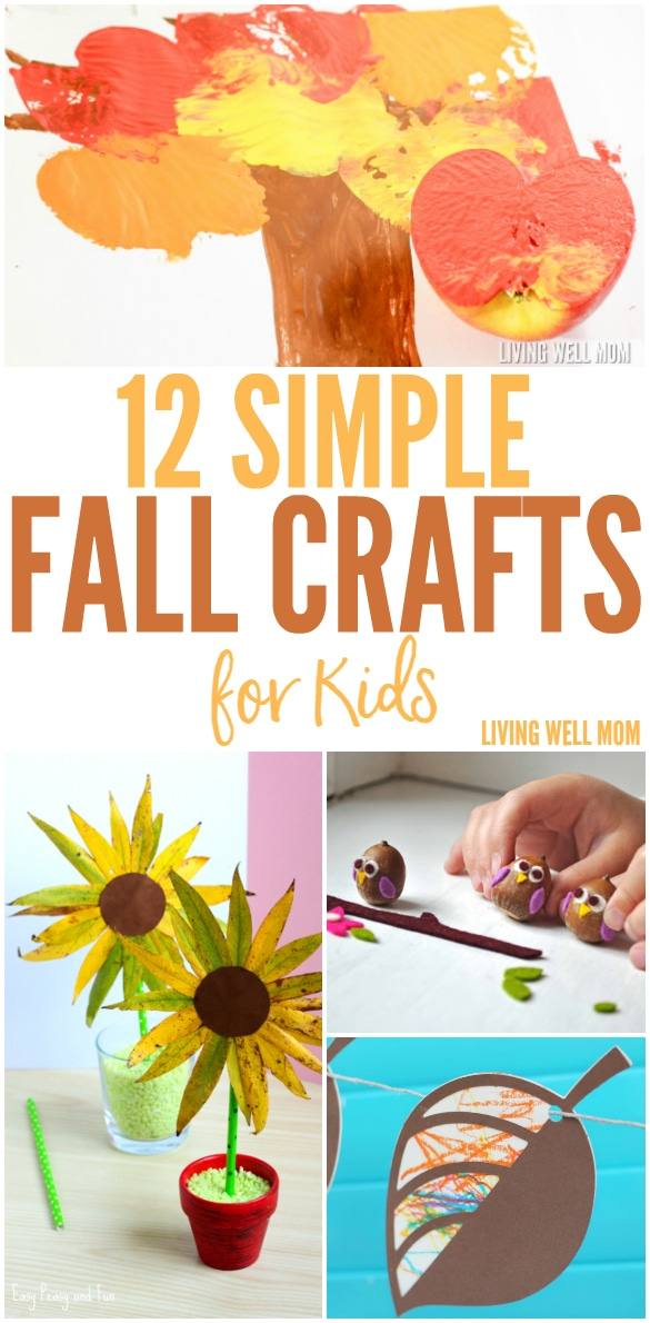 12 Simple Fall Crafts for Kids - forget the complicated activities, these are crafts that the kids AND YOU will enjoy! From a pretty painted leaf garland to pinecone turkeys and acorn owls, there's craft for every age too!
