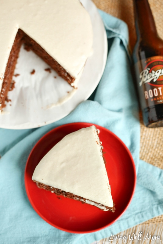 "This easy-to-make Chocolate Root Beer Float Cake has all the flavors of your favorite sweet drink in a delicious chocolate cake! It's perfectly flavored with root beer while the creamy frosting adds the perfect ""foamy' touch. It's really no surprise that this chocolate cake is a family favorite recipe!"