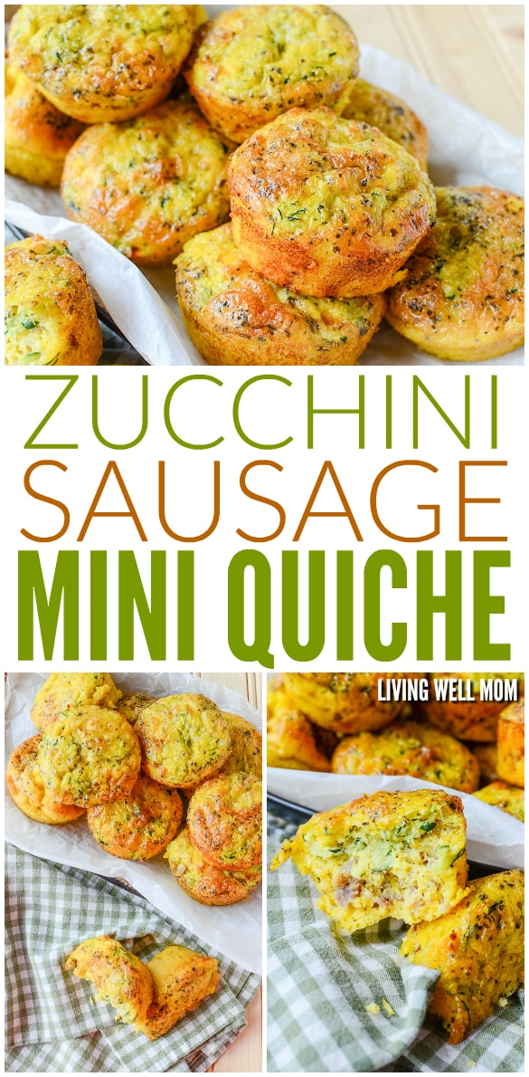 Make this hearty breakfast ahead of time, freeze it, then pop in the microwave for an delicious on-the-go breakfast the whole family will love! This Zucchini Sausage Mini Quiches recipe is gluten-free and kid-approved.