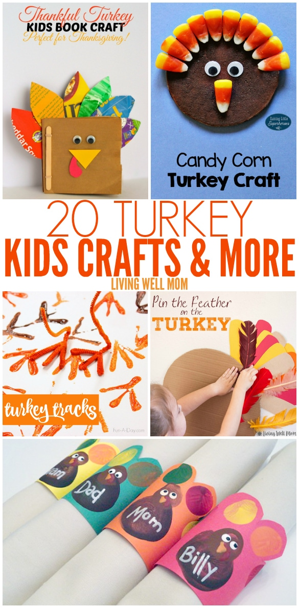 "20+ Turkey Crafts + More for Kids - from a ""pin-the-tail"" on the turkey game to magnets and book crafts, here's a wonderful selection of turkey crafts and activities kids of all ages will enjoy"