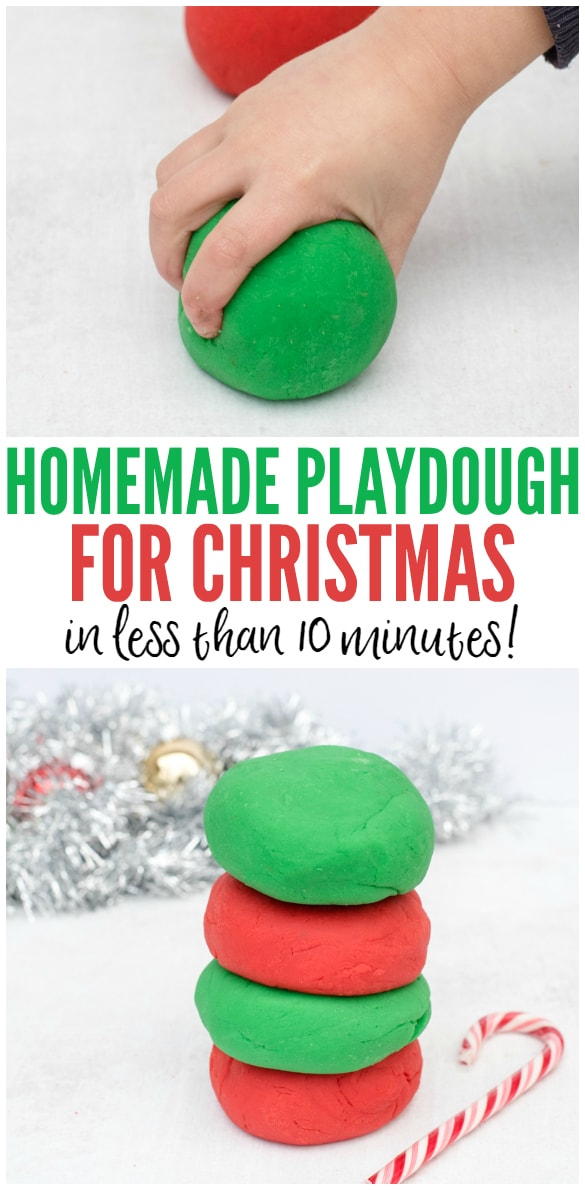 This easy homemade playdough for Christmas is peppermint scented and takes just 5 minutes to make with 6 simple ingredients! It's a perfect homemade Christmas gift or stocking stuffer for kids! Get the easy step-by-step recipe here: