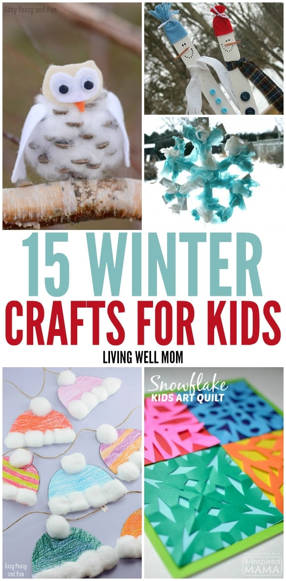 15 Fun Winter Crafts for Kids - From simple free printable games to fun pin the tail on the snowman and adorable crafty owls, there's activities for preschoolers all the way up to older kids with this fun list!