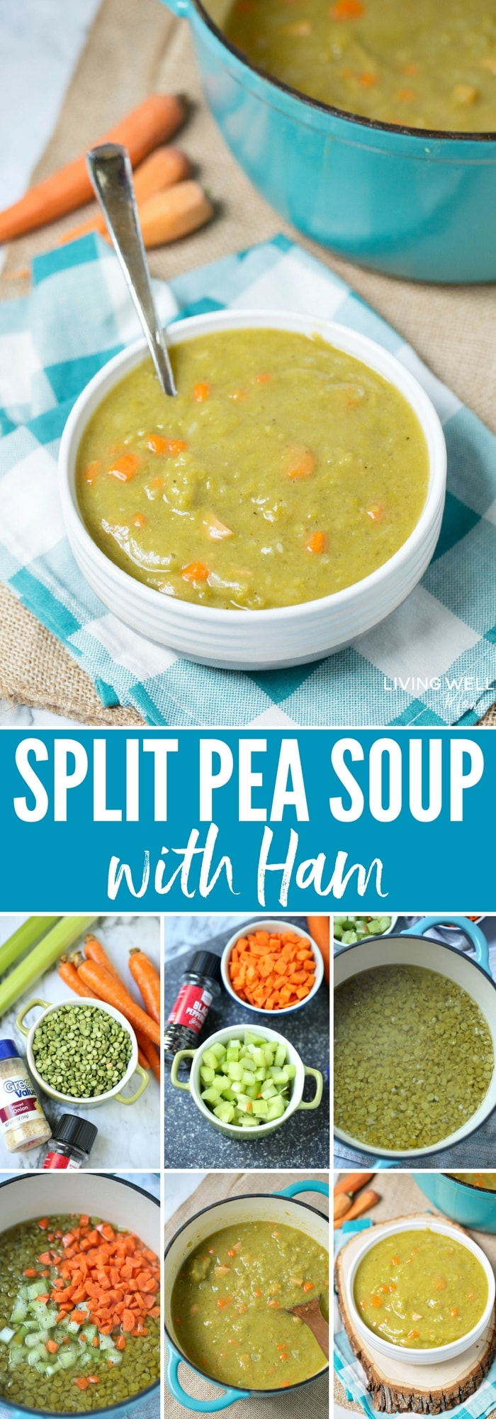 This hearty, delicious Split Pea Soup with Ham recipe will satisfy the whole family on a cold winter day. It's also naturally gluten-free and dairy-free and a great meal option if you have allergies.