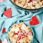 Valentine's Day Chex Mix - this recipe is enough for kids to make! It's perfect for a Valentine's Day party too!