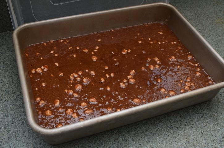 chocolate cake batter in pan