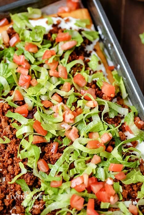 lettuce tomato ground beef over taco pizza crescent roll crust