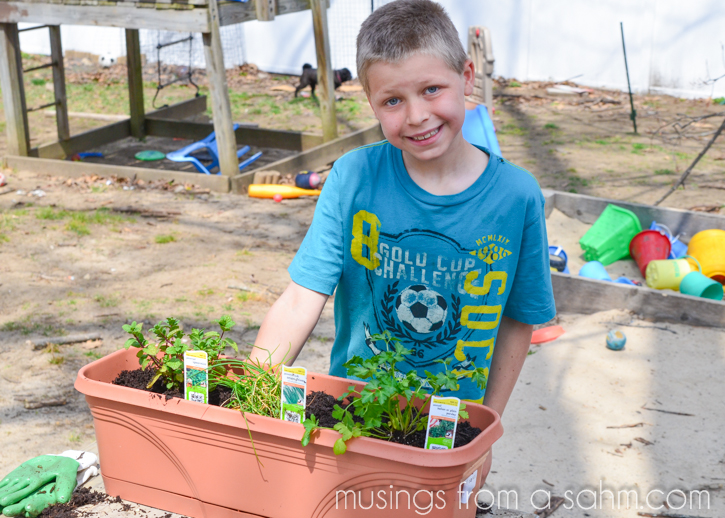 This DIY Herb Planter is a great way to get kids gardening!
