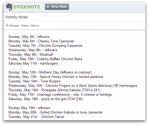 Evernote Menu Planning