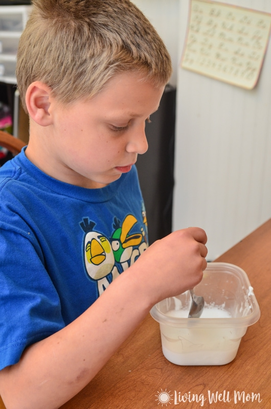 Step by step instructions for how to make the easiest homemade gak recipe in less than 5 minutes! Kids will love helping make their very own gak and even more fun with their bouncing, crazy glob of goop that's this fun kids' activity!
