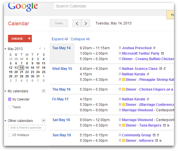 Menu on Google Calendar